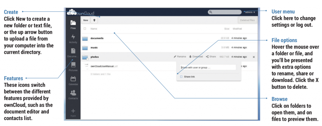 The ownCloud user interface (click for larger)