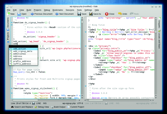 Kate can double up as a versatile can capable integrated development environment (IDE).